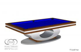 OVAL MODERN POOL TABLE BRUSHED ALUMINUM AND WALNUT